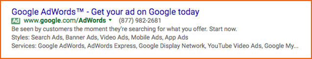 Google AdWords ad for Google AdWords in Google Search