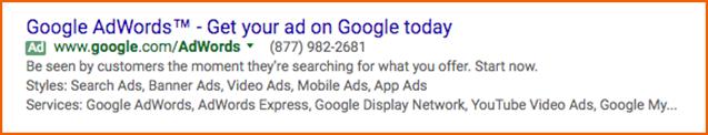 Google ad for Google AdWords on Google