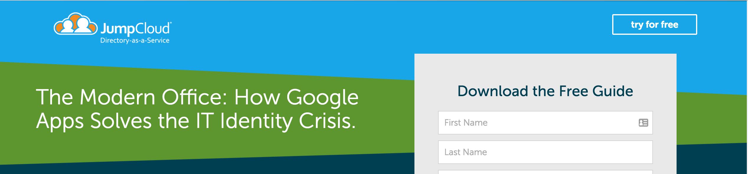 Landing page header